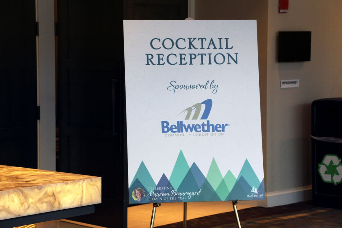 cocktail reception sign at Greater Manchester Chamber of Commerce Citizen of the Year event