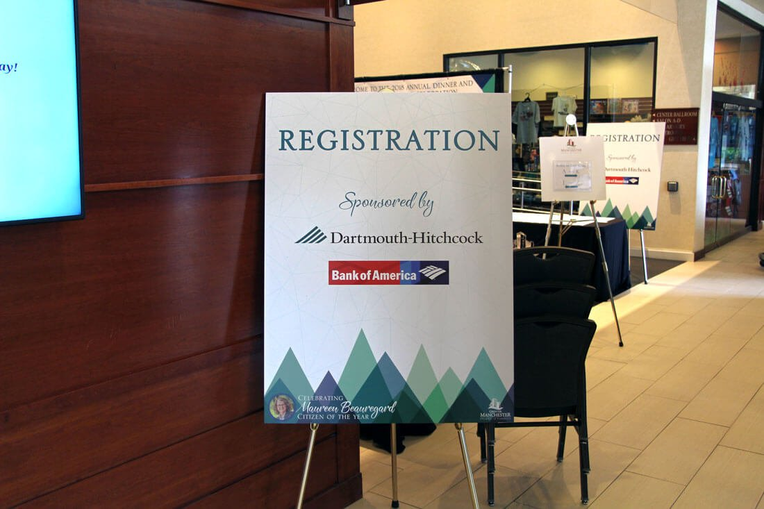 registration sign at Greater Manchester Chamber of Commerce Citizen of the Year event