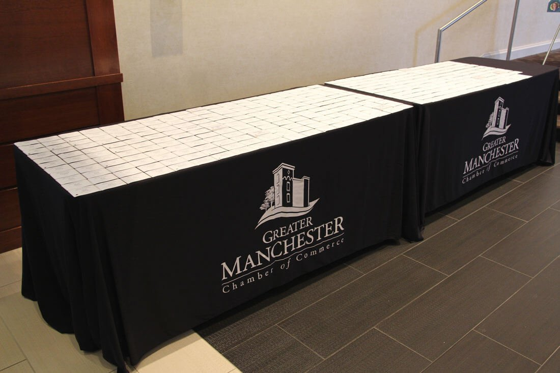table covers at Greater Manchester Chamber of Commerce Citizen of the Year event