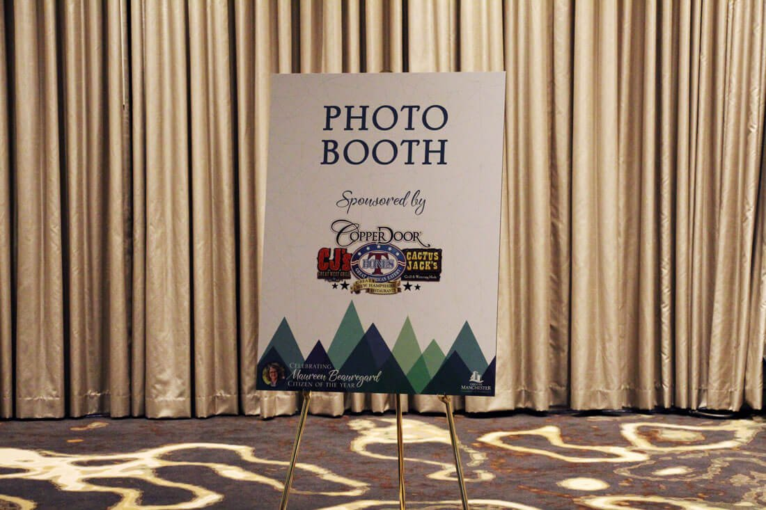 Photo booth sign at Greater Manchester Chamber of Commerce Citizen of the Year event