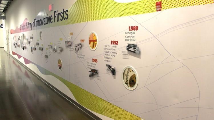 EFI vinyl acrylic timeline interior reception and lobby signs