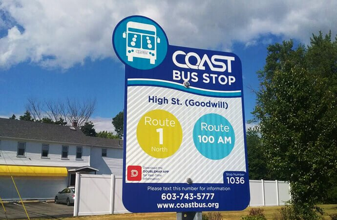 COAST bus stop sign installed