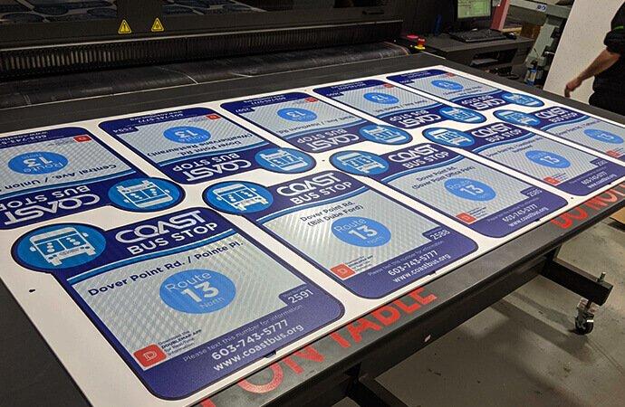 COAST bus stop signs printed on vutek