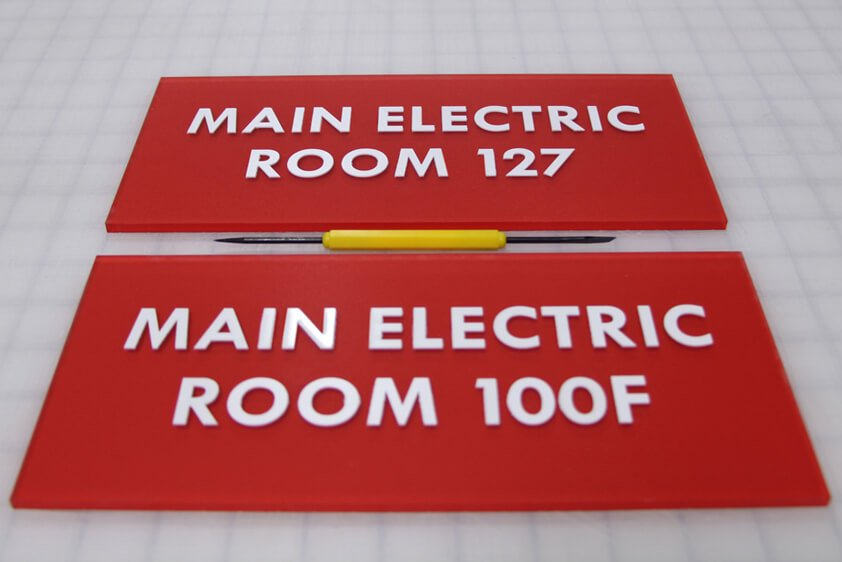 Wayfinding Signage for laser machine page electric room