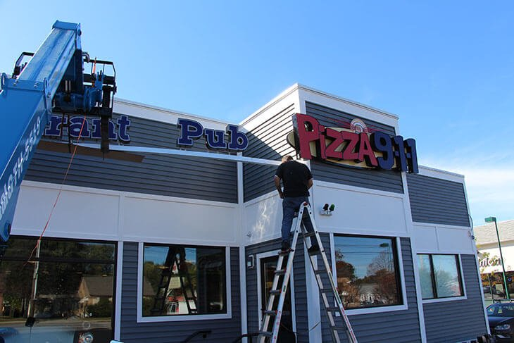 Pizza 911 Exterior Channel Letters