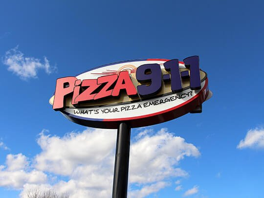 Pizza 911 Exterior Retail Signage Pylon Sign