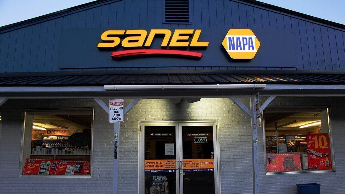 Sanel NAPA illuminated exterior retail signage channel letters