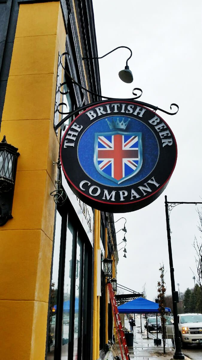 british beer company round exterior sign