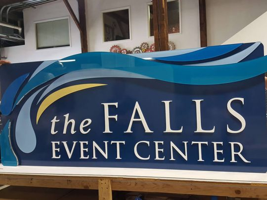 The Falls Event Center Exterior Retail Signage custom cut signs