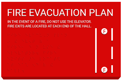 Evacuation Diagram ADA Signs with braille
