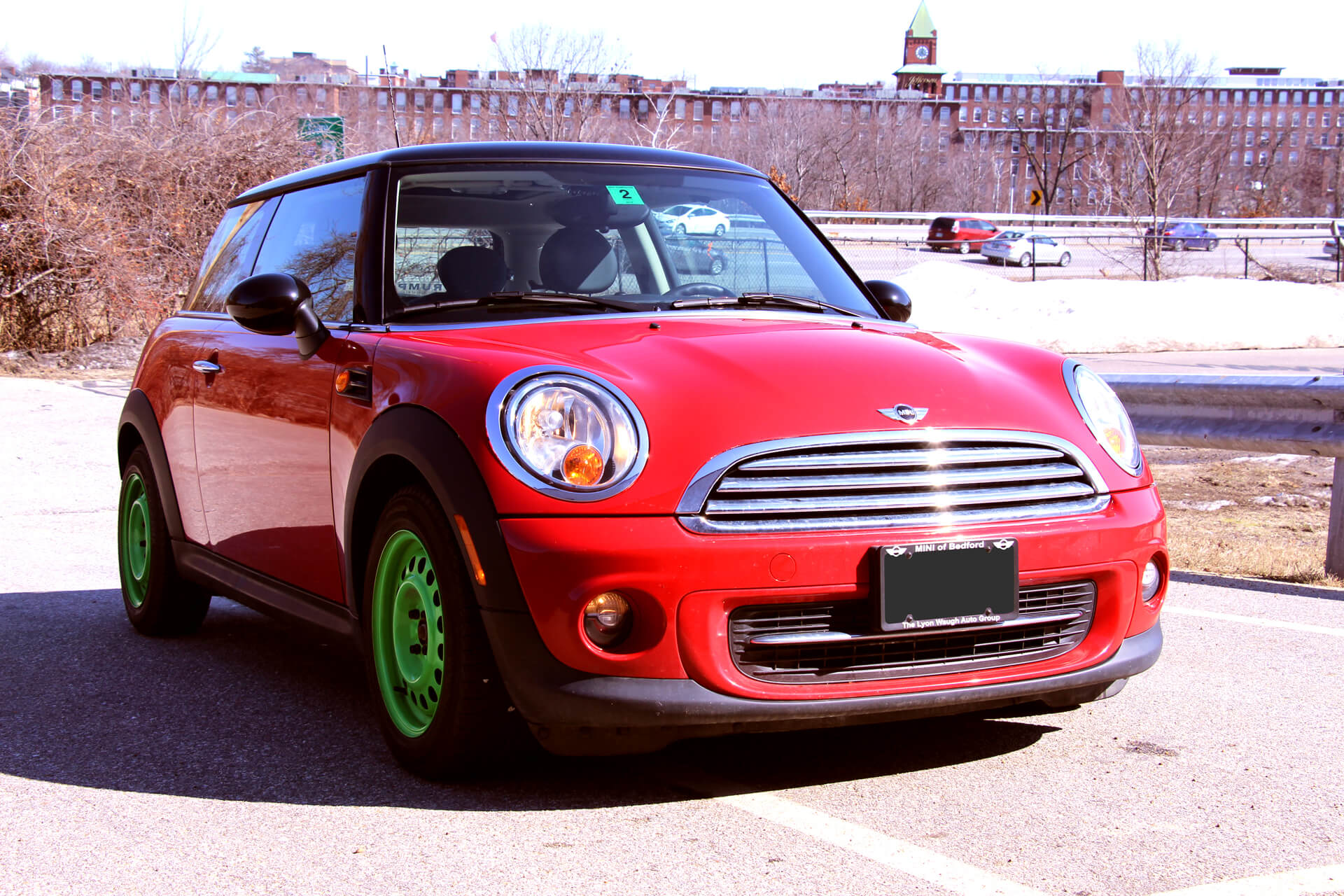 mini cooper red before left front