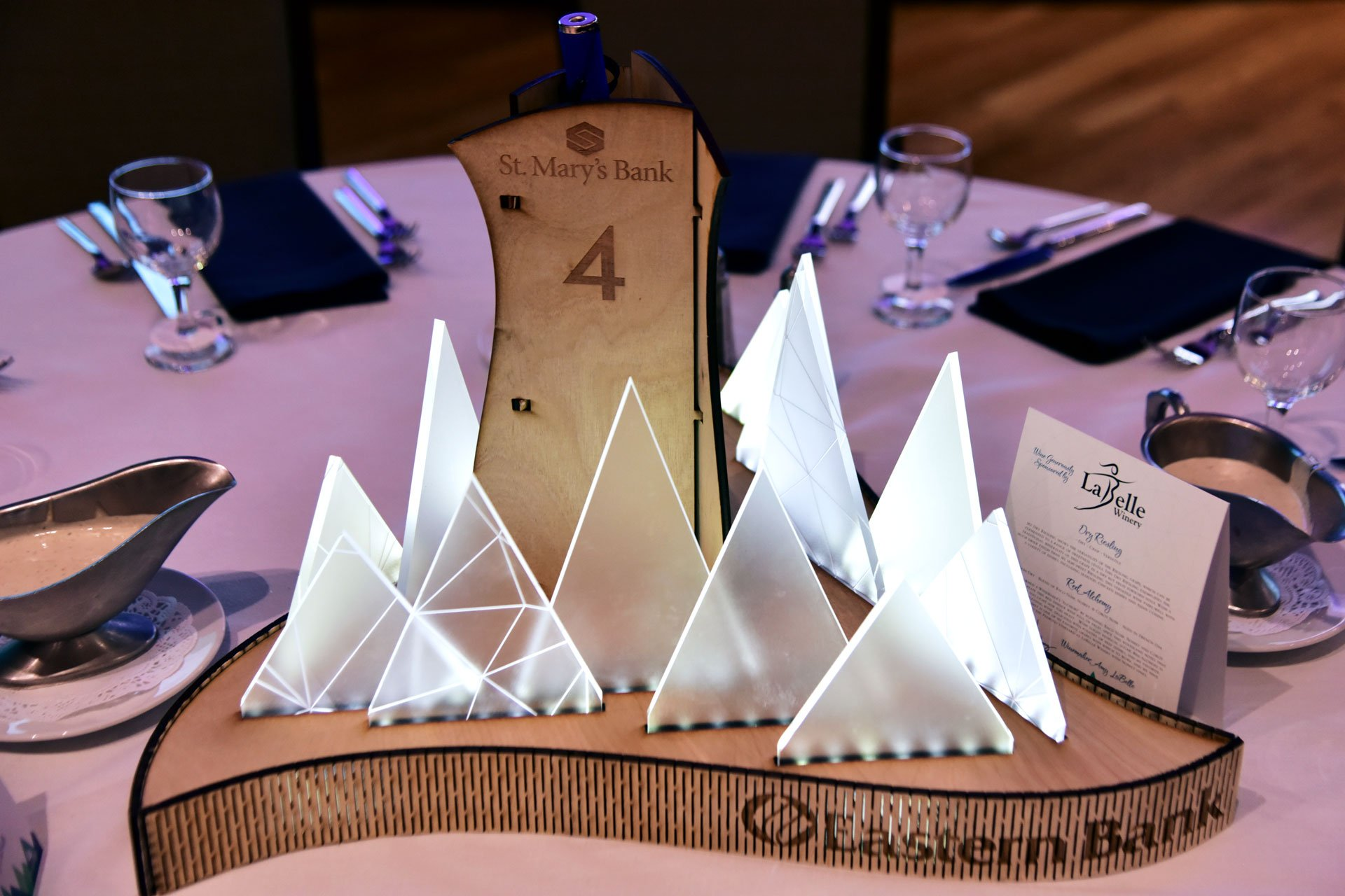 Greater Manchester Chamber of Commerce Citizen of the Year Event Table Set up Centerpiece close up 2018