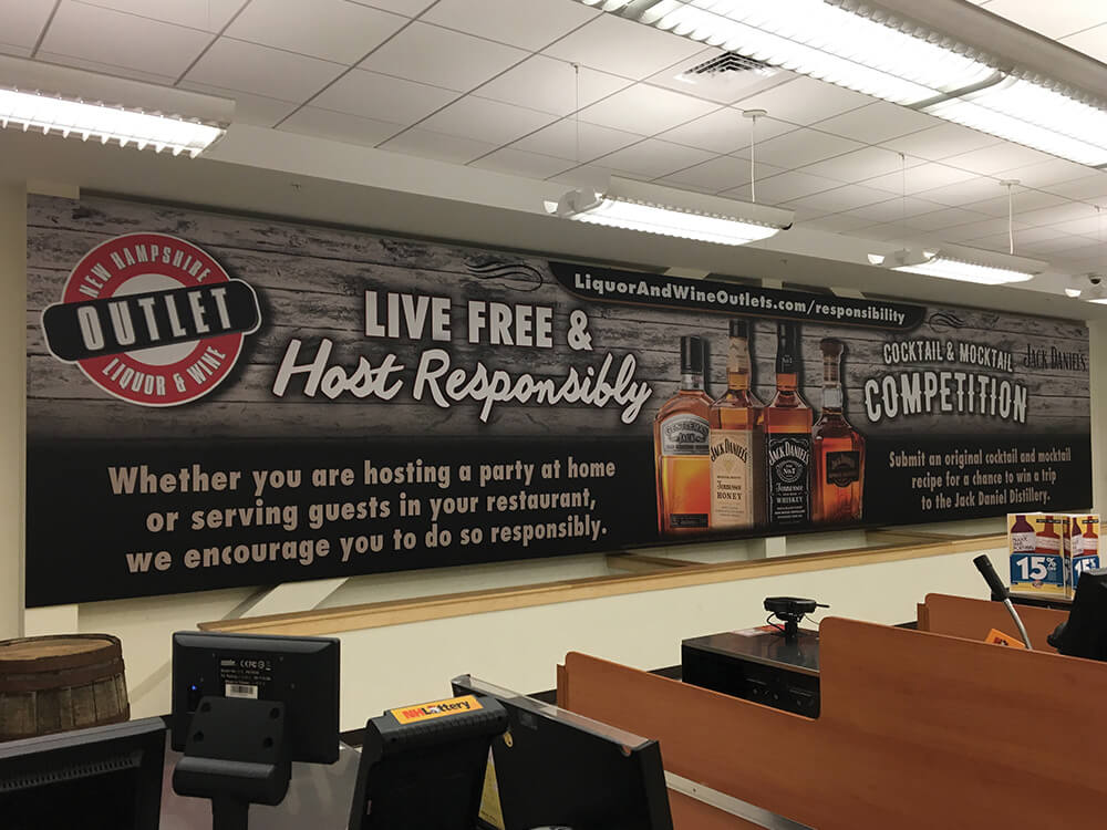 New Hampshire Liquor and Wine Outlet Interior Commercial Signage