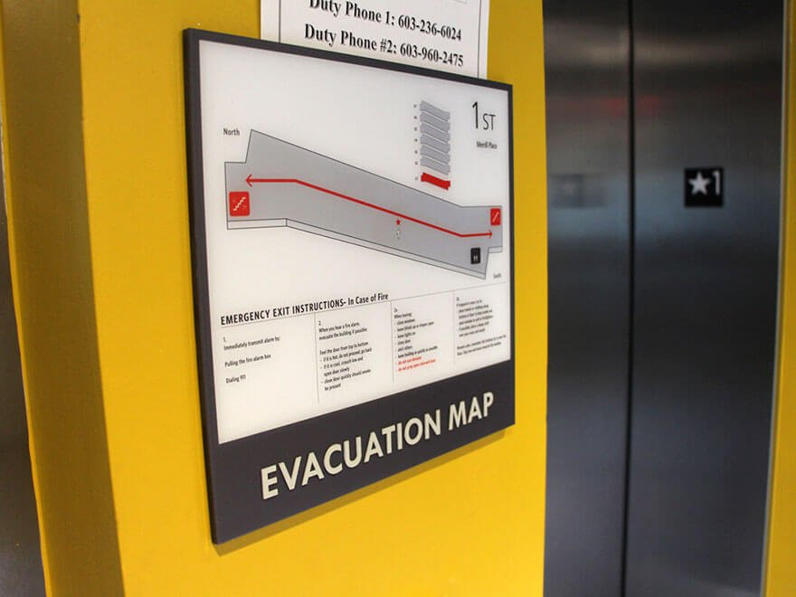 merrill place evacuation map interior wayfinding signage