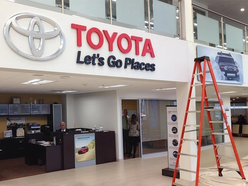 Reception Signs - Toyota Reception Logo Installation