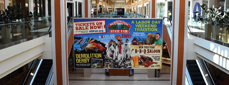 state fair retail banner signage installed at mall