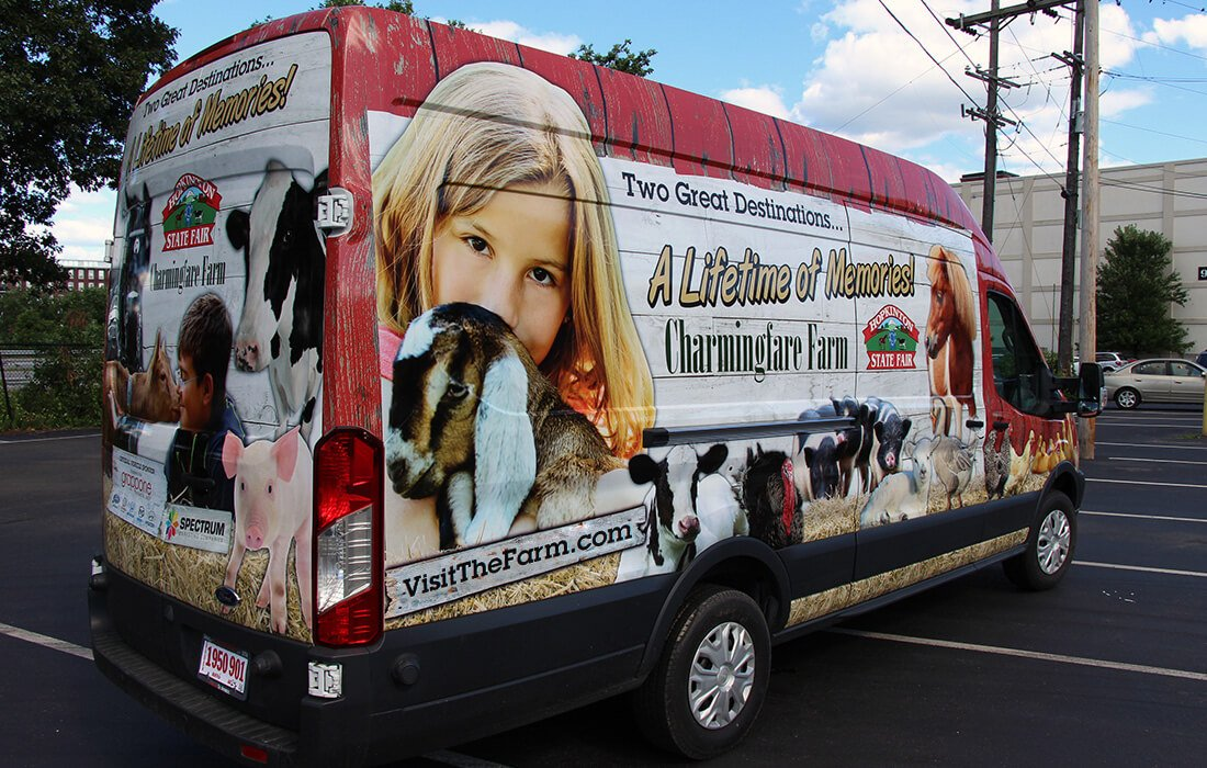 charmingfare farm van vehicle wrap
