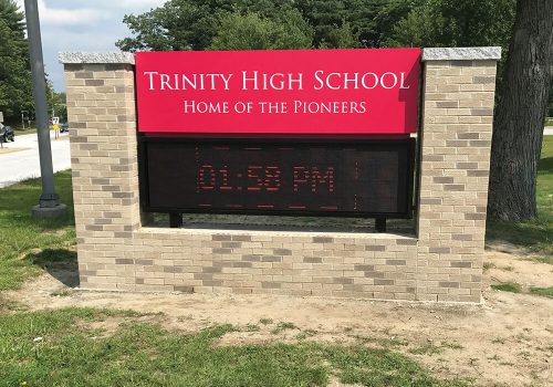Trinity High School Electronic Exterior Commercial Signage