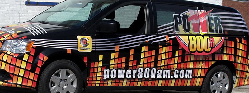 power800am van with custom vehicle wraps and graphics
