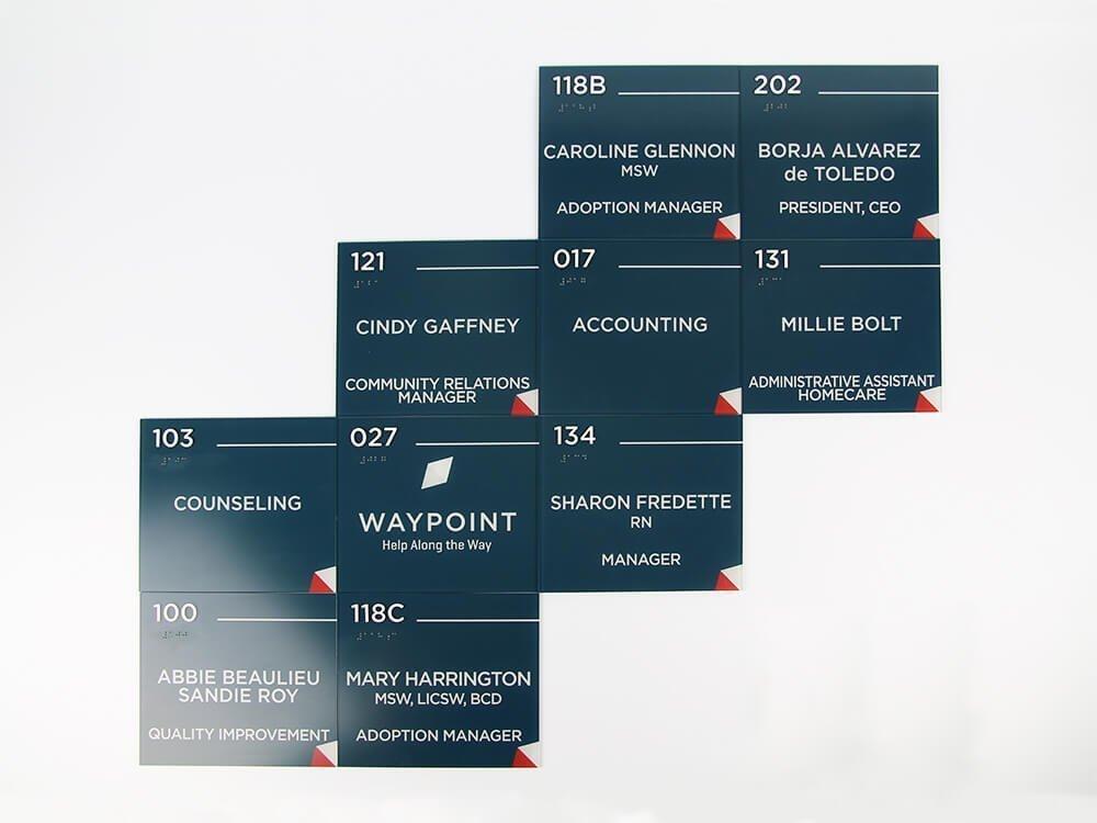 Waypoint interior wayfinding signage